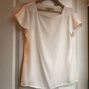 LOFT off white sheer blouse